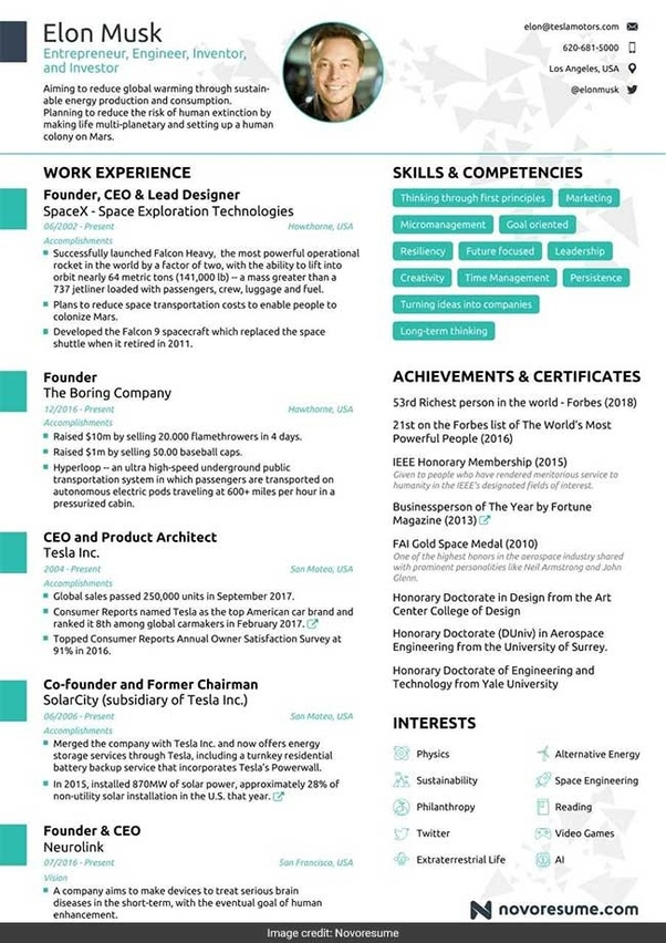 What would Elon Musk  39 s resume look