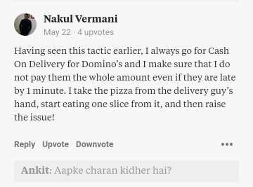 What happens when Domino's takes more than 30 minutes to deliver
