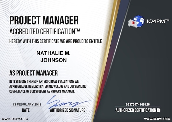 Is the project management certification from IO4PM considered by ...