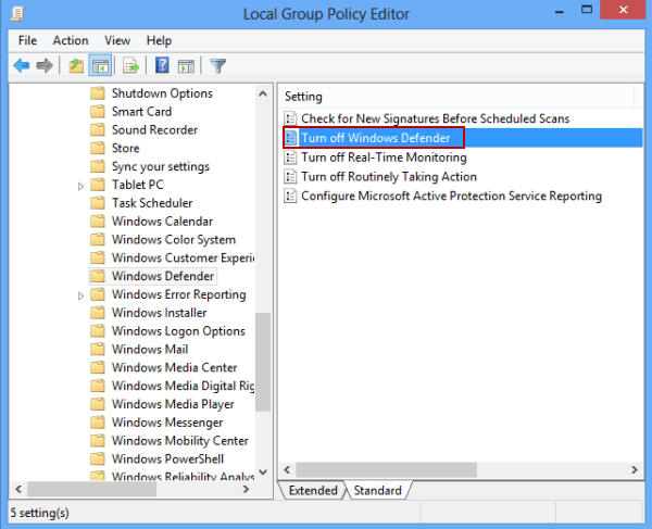 windows defender this app is turned off by group policy windows 8.1