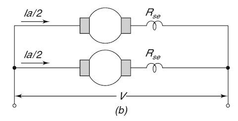 when two dc series motors are connected in a parallel,what is the dc motor drill when two dc series motor are connected in parallel then the resultant speed is increase the normal speed if the voltage across each motor is v and current