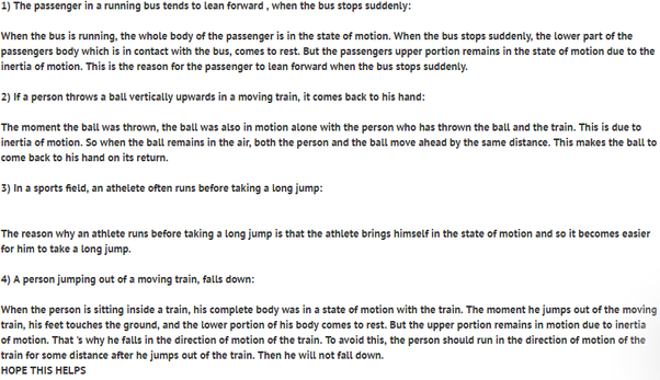 what are 5 examples of inertia of rest inertia of motion