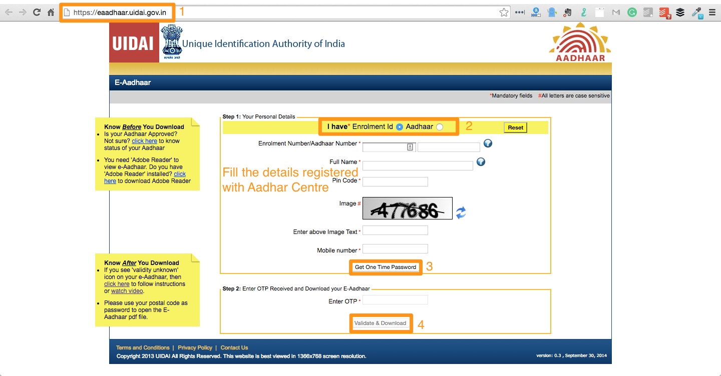 How to download aadhar card without mobile number and email id
