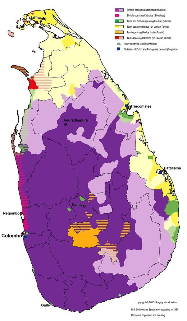What are the major languages spoken in Sri Lanka in 2018