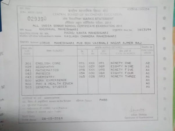 Does CBSE display student achieved percentage in any of the ...