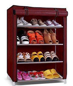 Pindia Shoe Cabinet, 4 5 Layer Maroon Shoe Rack Organizer