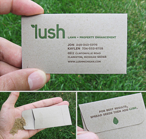 How to make an exclusive business card quora for example this lawn care business card seems to be ordinary but its envelop format with seeds inside makes it original and exclusive reheart Gallery