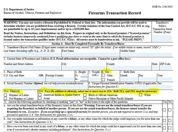 form 4473 current address  How many white males have purchased guns since Trump entered ...