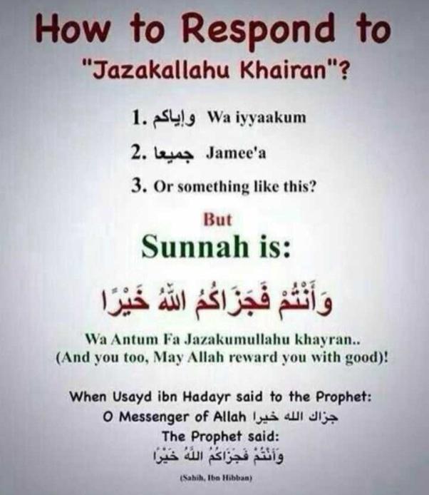 """What's the best reply to """"JazakAllah khairan""""? - Quora"""