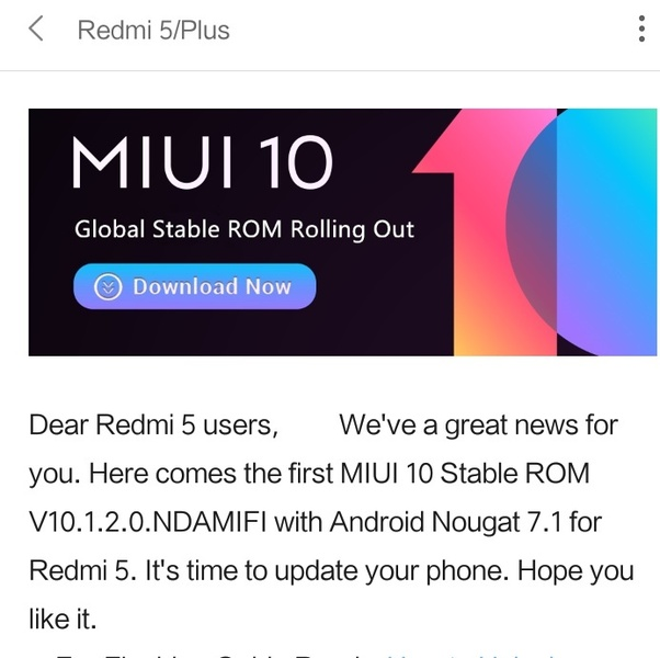 Will Redmi 5 receive the Android Oreo update in the stable