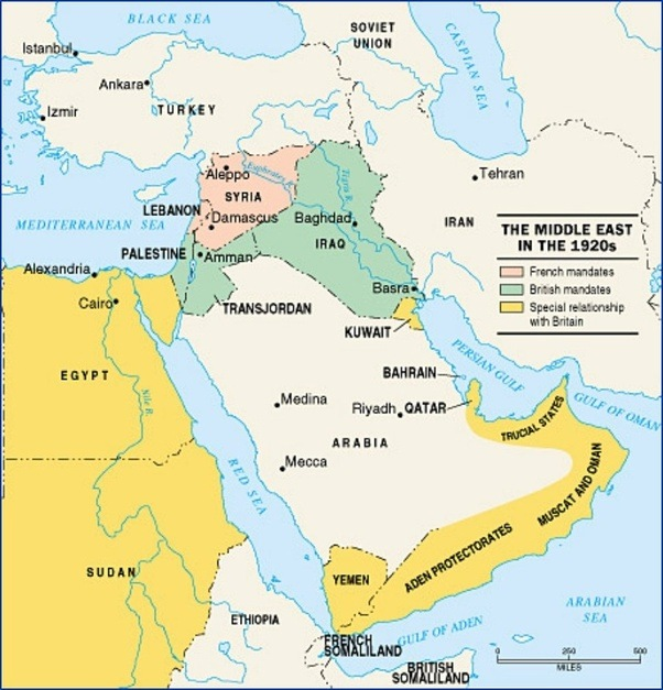 What were the mandates in the Middle East following WWI ...