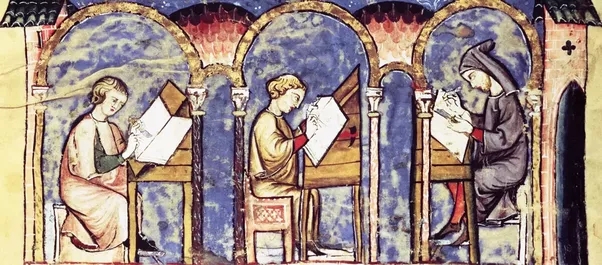 Before The Printing Press Only Texts Were Handwritten Manuscripts These Produced By Teams Of Monks In Monastic Scriptoriums