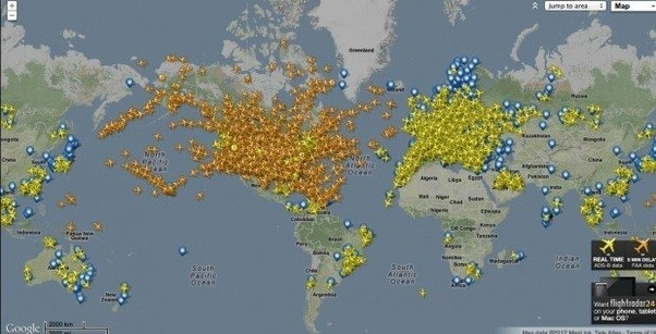 How many airplanes are in flight on average at any given time the website states that it is the largest collection of real time online aviation statistics that allows users to search for information by gumiabroncs Images