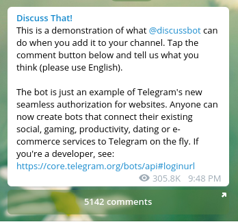 Is there a telegram bot that lets members of a channel write