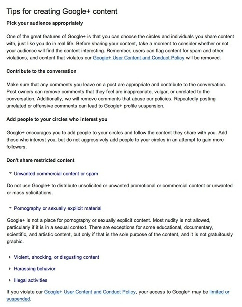 Here are some excerpts from the Google+ TOS regarding inappropriate content.