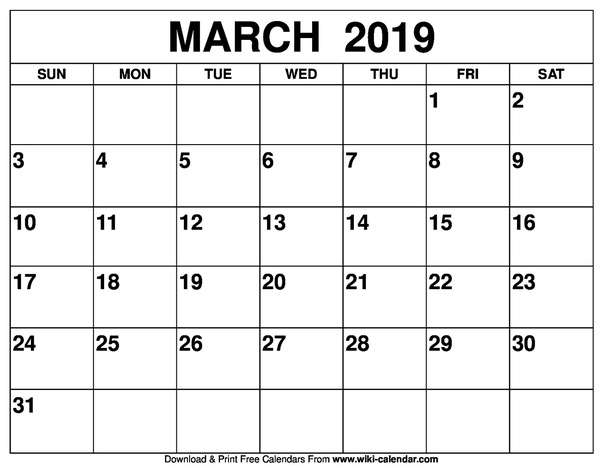 How To Get A Printed Or Printable Calendar For March 2019