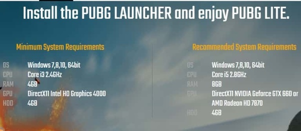 What is the minimum requirement of PC for running the PUBG