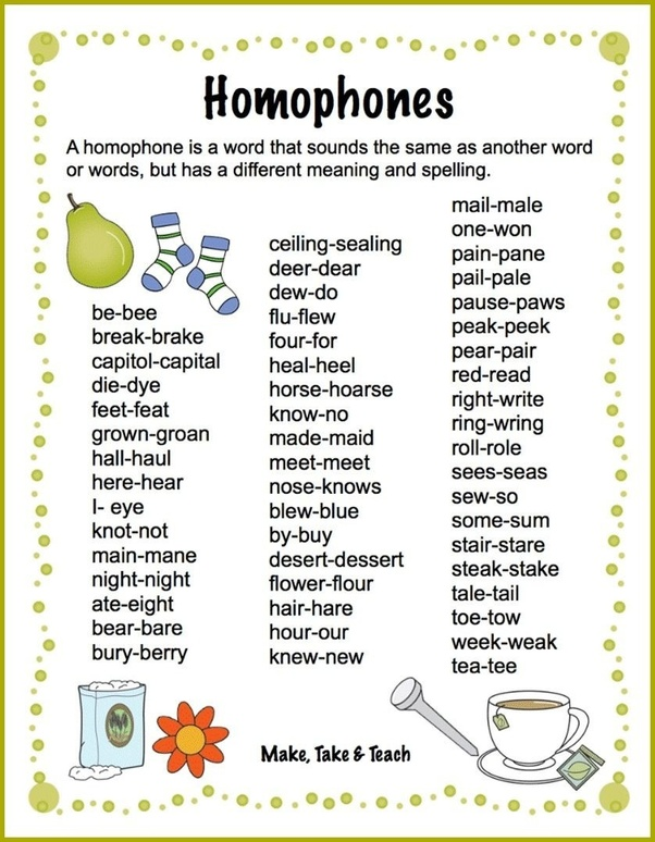 What Are The Examples Of Homophones With Sentences And Examples Quora