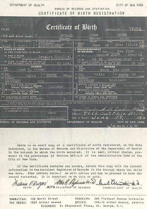 Has Donald Trump Released His Birth Certificate Quora