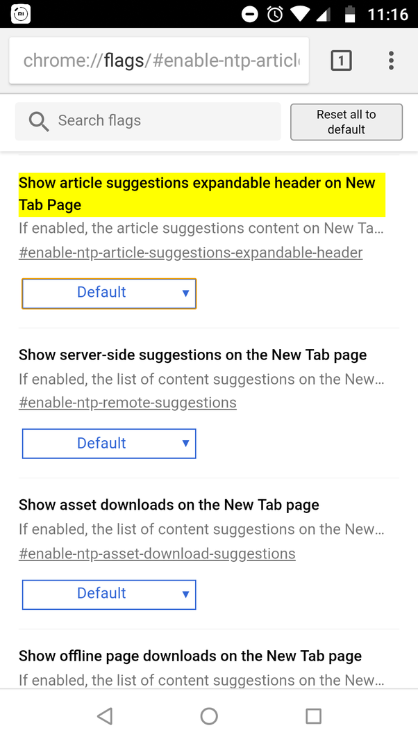 How to disable 'articles for you' in Google Chrome on