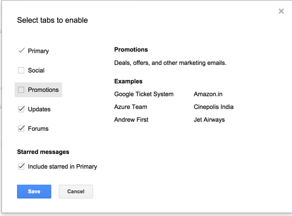 How to delete promotional mails on gmail which are not starred and