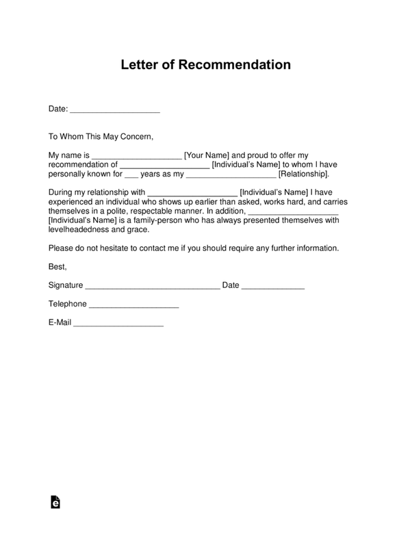 what is the recommendation letter for a friend for