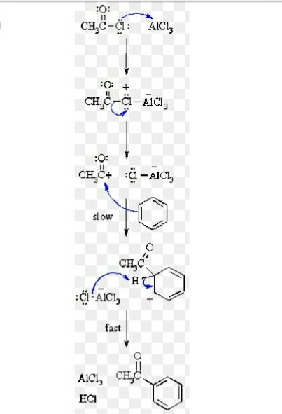 What happens when benzene is treated with acetyl chloride in