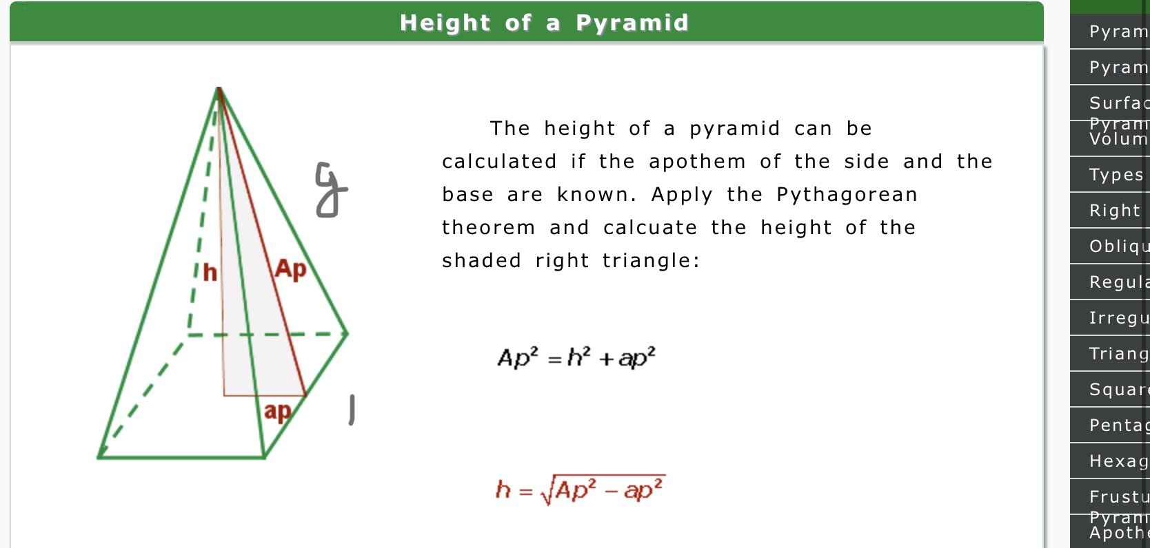 How to find the height of a square pyramid when given the base