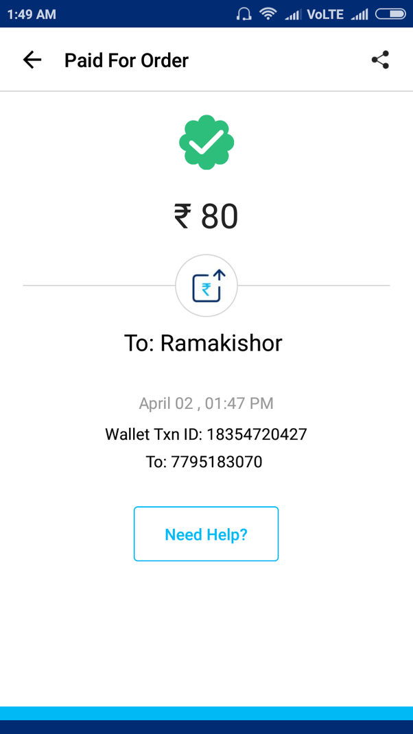 Someone sent me money in my Paytm wallet twice, and his/her full