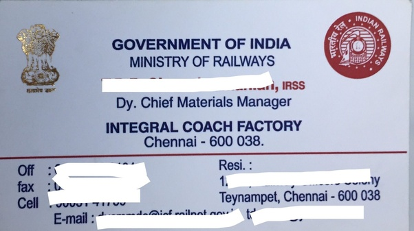 Following Is The Visiting Card Of An Officer Belonging To Indian Railway S Service Irss 1 Cadre Recruited Through Ese 2 You Shall Notice