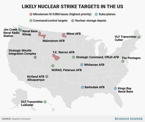 Which US states are most vulnerable to nuclear attack Quora