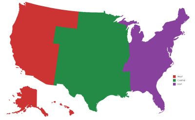 If the USA was divided into 3 regions (East, Central, and West ...