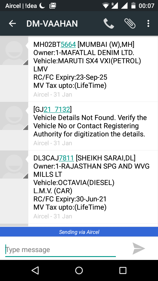 What is it all about sending the vehicle number by sms to ...