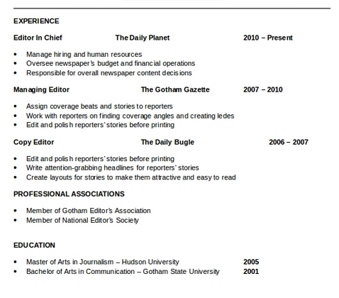 What Is The Best Way To Enter My Work Experience On A Resume Quora