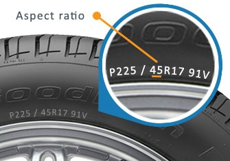 What is the difference in tire size between 225/50-R17 and