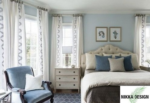 which wall colour will look good for a bedroom with light blue and