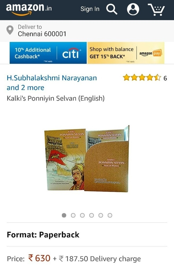 is the english translated version of ponniyin selvan available