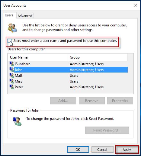 change admin account password windows 10