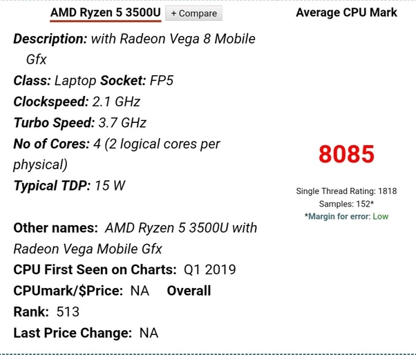 Which Is Better Amd Ryzen 5 3500u Or Intel Core I3 8th Gen For A Laptop Quora