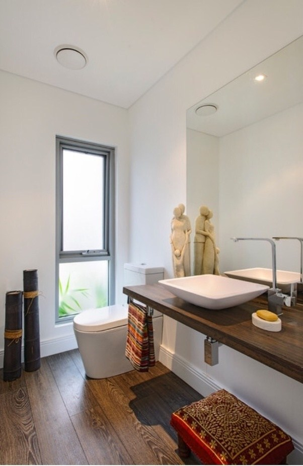 The Only Concern I Would Have Is The Use Of A Wood Countertop In A Bathroom  Where Humidity And Moisture Is A Much Bigger Issue Than The Kitchen.