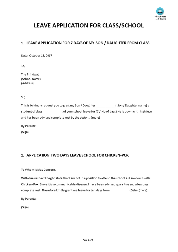 How To Write A Letter For Sick Leave To A Teacher From A Parent Quora