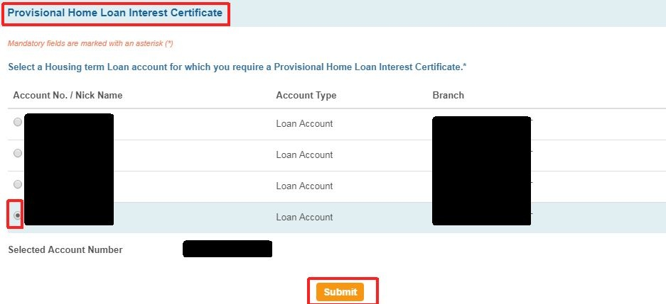 axis bank home loan provisional tax certificate