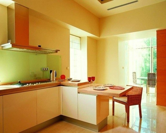 As You Particularly Want To Seperate Kitchen Visually, You Can Combine  Beige With Bright Hues Like Yellow, Orange, Green And Red Also.