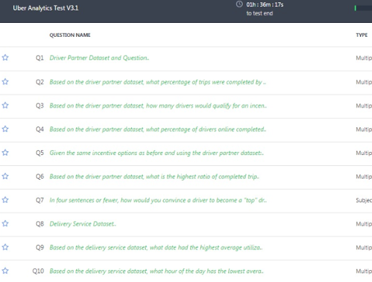 Uber Interview Questions >> What is Uber analytics test v3.1? - Quora