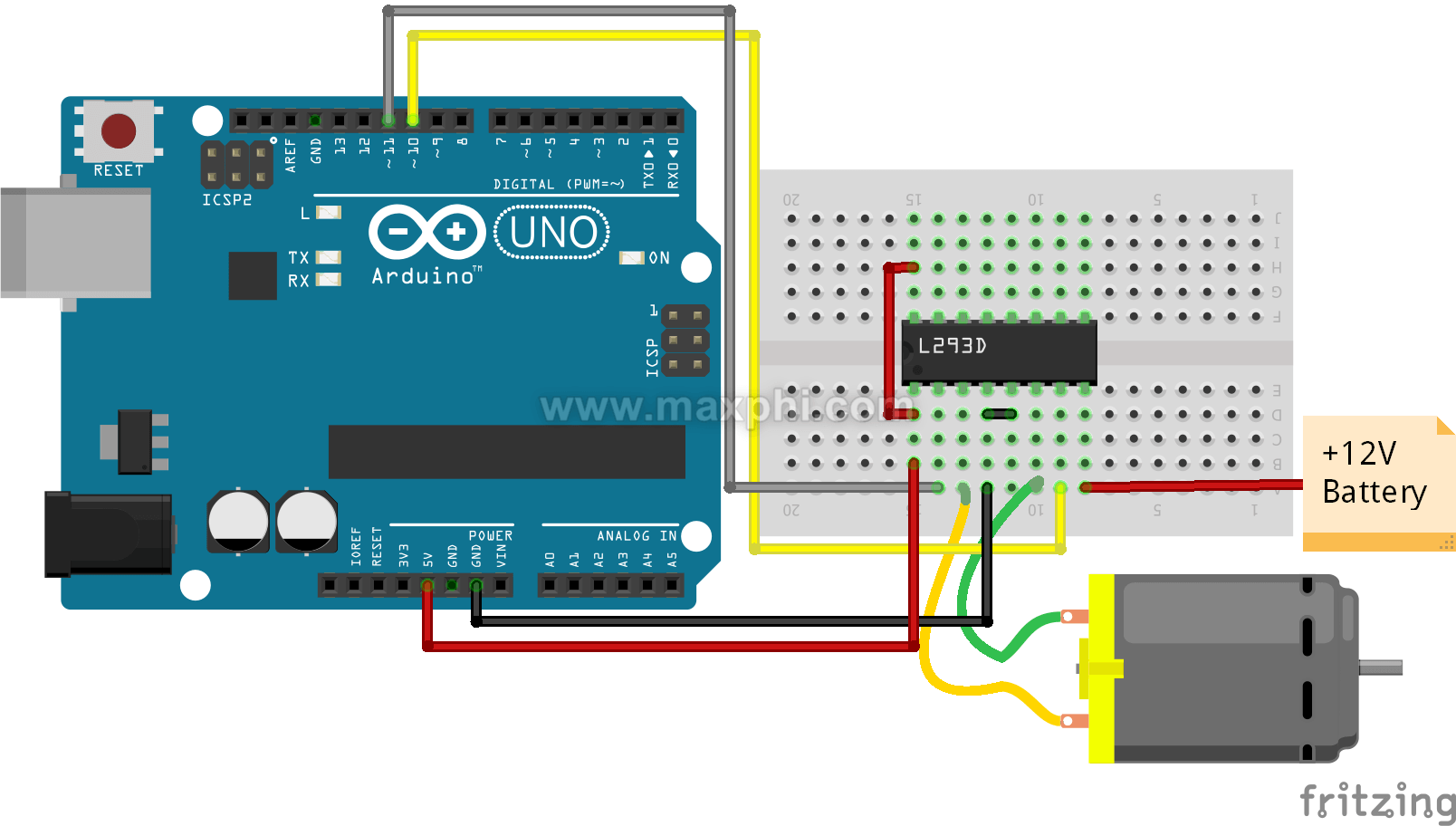 How Does A Dc Motor Connect To An Arduino Quora Circuit Shows About Twotransistor Driver Diagram So That We Can Control The In Clockwise And Counter Direction By Doing Some Simple Coding Two This
