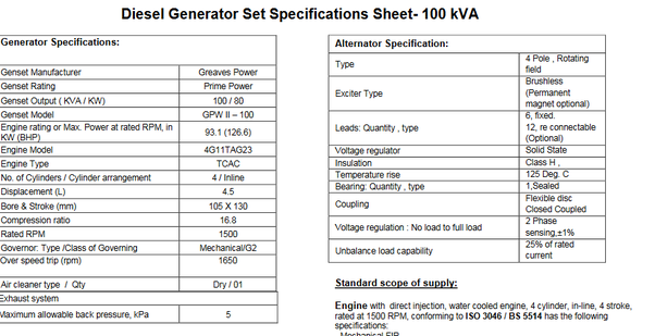 How Many Amps Does A 100 Kva Generator Produce Quora