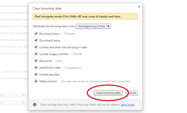5 Click On Clear Browsing Data