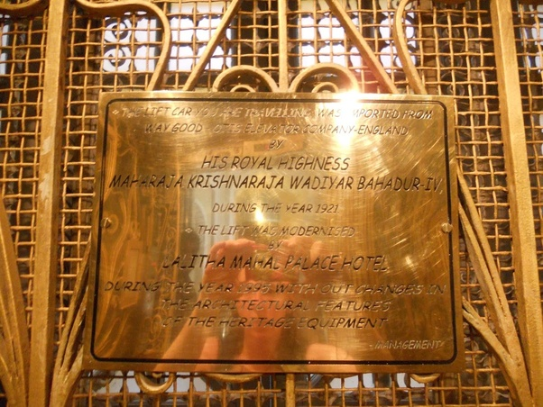 Elevator Lift in Lalitha Mahal Palace Brass plate Maharaja