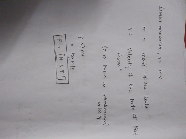 What Is The Dimensional Formula Of Momentum