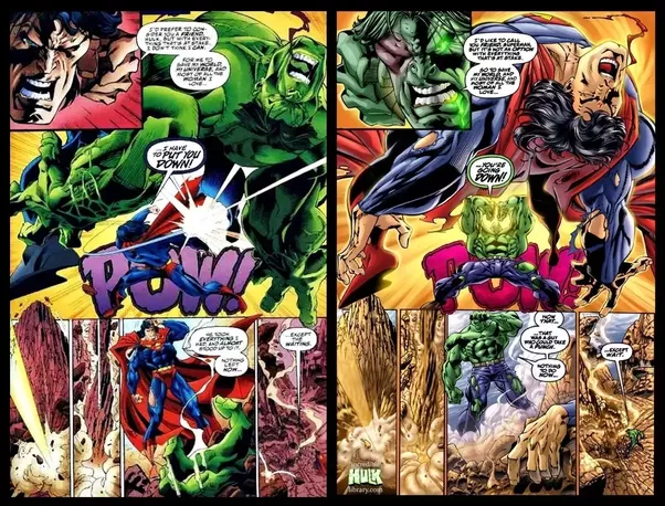 was there ever a time where hulk beat superman in a crossover comic